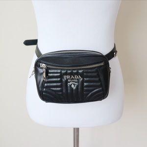 Prada Quilted Leather Belt Bag / Fanny Pack Black